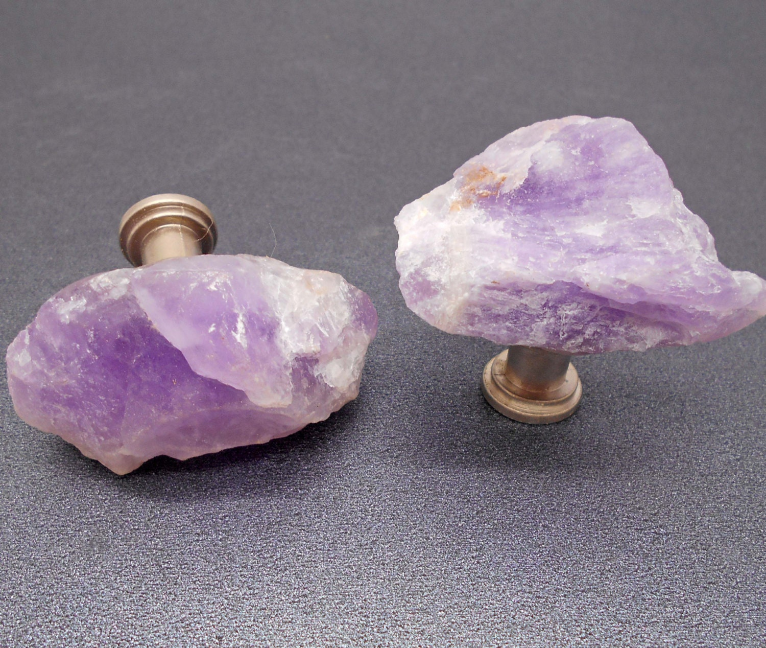 Knobs Stone Knobs Cabinet Knobs Raw Amethyst Cabinet Knobs