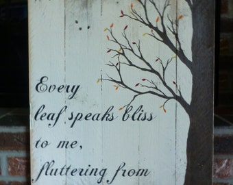 Large and rustic autumn sign, hand painted on reclaimed wood