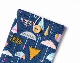 iPad Air 2 Case - iPad Cover - Custom Padded Tablet Sleeve for iPad 4, Kindle Fire - Rainbow Umbrellas on Blue
