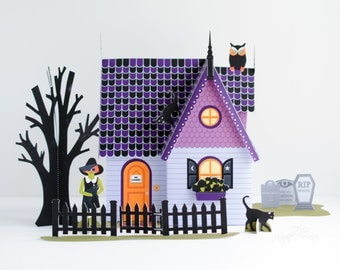 Halloween Haunted House Kit Paper Dollhouse, Printable Halloween Decor, Miniature, Witch Paper Doll, Crazy Cat Lady, Black Cat