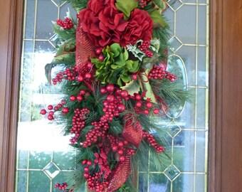 Berry Door Swag - Christmas Wreaths - Christmas Door Swag - Wreaths - Holiday Door Decor - Red and Green Hydrangeas - Holiday decorations