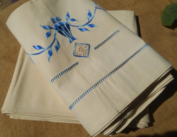 Pair of Art Deco French Linen Flat Sheets Unused Tagged Off White Ladder Work Blue Embroidered Medallion Bed Sheet #sophieladydeparis