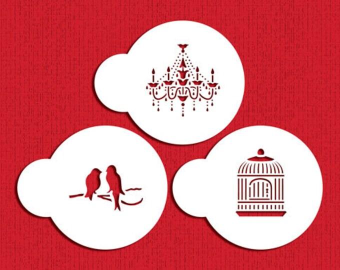 Three Love Birds Birdcage Chandelier Stencil Set - ST-682 - Cookies, Cupcakes & Cakes Design Decorations