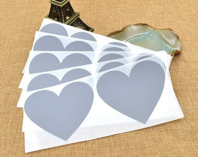 Heart Shaped Scratch Off Stickers - Silver 10 pc - Secret Messages Game Scratchies Prizes