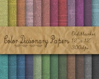 Dictionary Digital Paper - Colorful Old Dictionary Background -  24 Colors - 12in x 12in - Commercial Use -  INSTANT DOWNLOAD