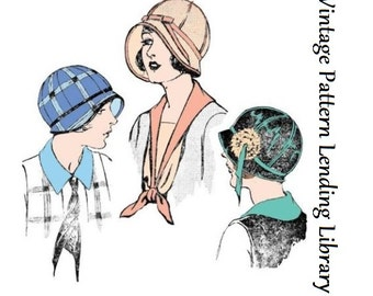 1920s Ladies Cloche Hat with Ribbon Trim - Reproduction Sewing Pattern #H7473