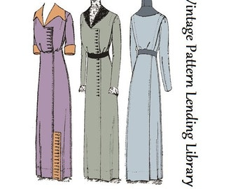 1911 Ladies Dress with Two Collar Options - Reproduction Sewing Pattern #E4929