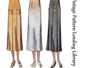 1930s Ladies Skirt With Self Pockets- Reproduction Sewing Pattern #T7368