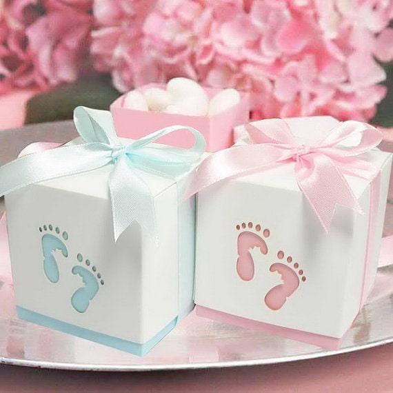 baby boy footprint favor box blue boy 12 pieces by. Black Bedroom Furniture Sets. Home Design Ideas