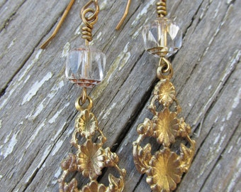 Vintage Style Brass Earrings with Czech Glass Beads