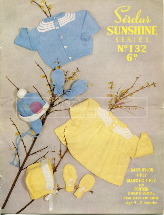 Baby Sets for Boy or Girl 4-ply 9-12 months Sirdar 132 Vintage Knitting Pattern PDF instant download