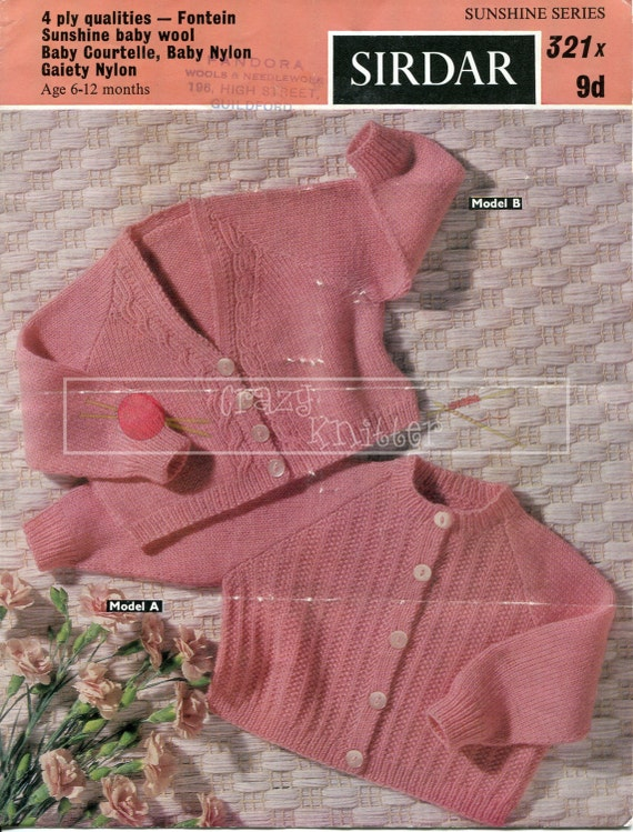 Baby Shortie Cardigans 6-12 months 4-ply Sirdar 321 Vintage Knitting Pattern PDF instant download