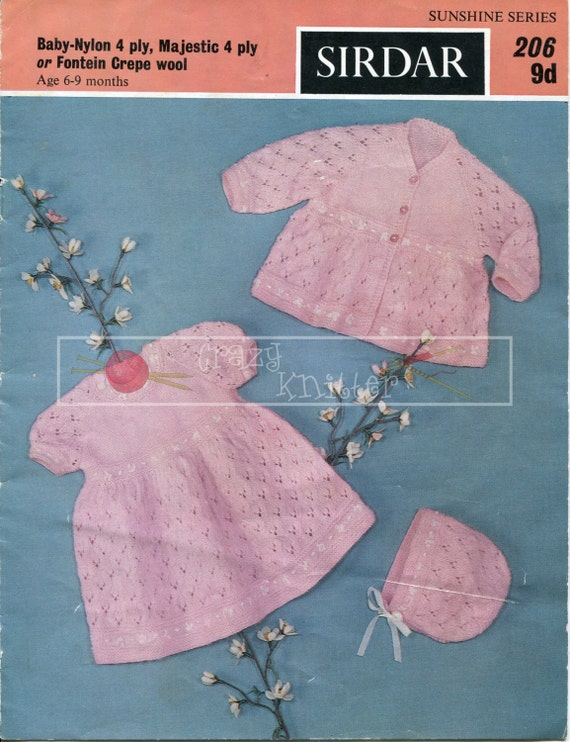 Baby Girl Set 6-9 month 4-ply Sirdar 206 Vintage Knitting Pattern PDF instant download