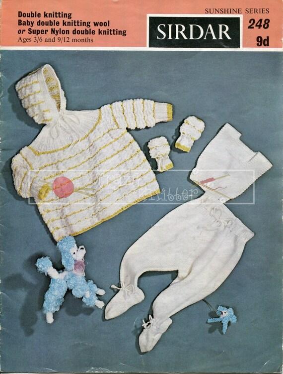Baby Pram Set DK 3-12 months Sirdar 248 Vintage Knitting Pattern PDF instant download