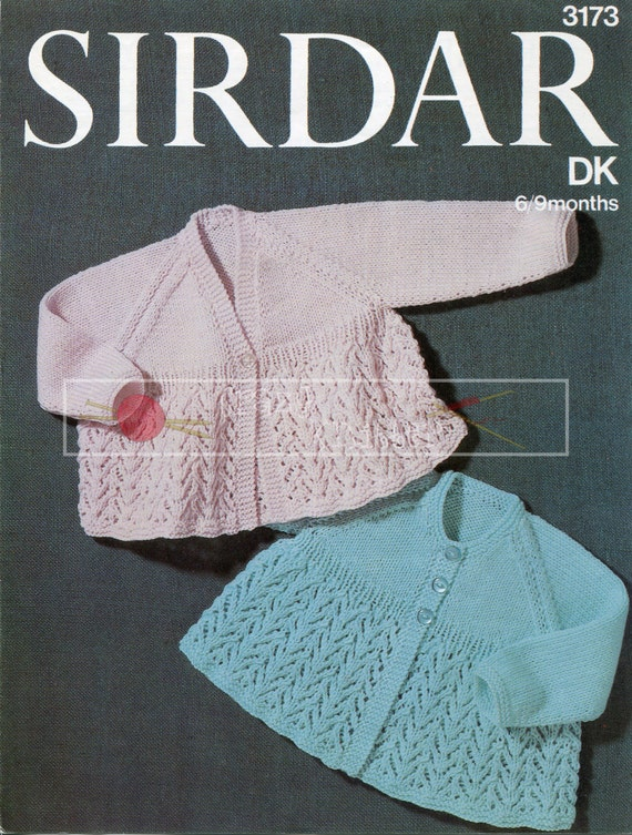 Baby Matinee Coats 6-9 months DK Sirdar 3173 Vintage Knitting Pattern PDF instant download