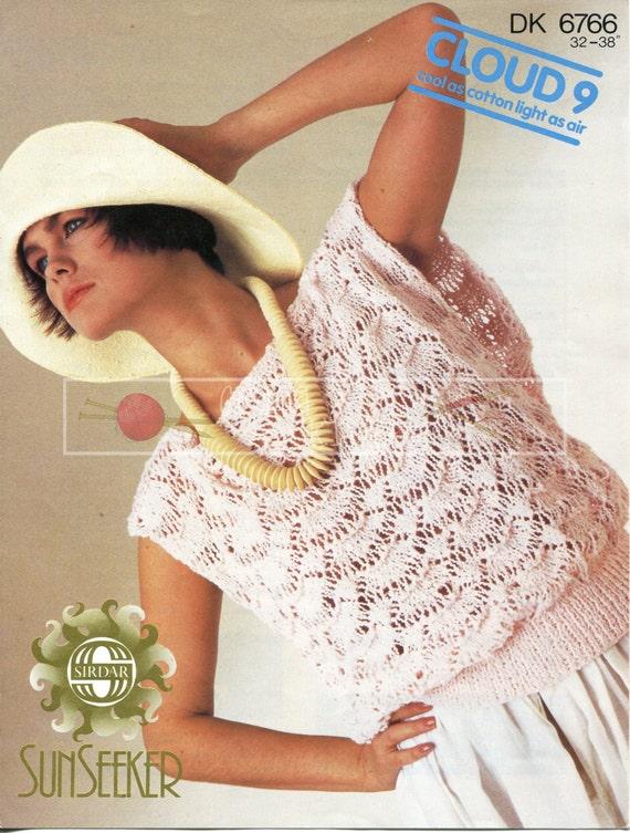 "Lady's Summer Top 32-38"" DK Sirdar 6766 Vintage Knitting Pattern PDF instant download"