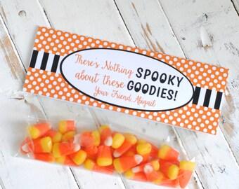 Polka Dot Halloween Goodies Custom Treat Bag Topper - Halloween Favor Treat Bag Labels - DIGITAL DESIGN or HANDCRAFTED
