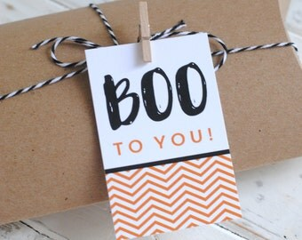 Halloween Boo Favor Tags - 2 Tag Designs - Halloween Party - INSTANT DOWNLOAD