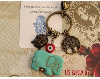 Buddha Elephant Keychain Buddha Keychain  Purse Jewelry