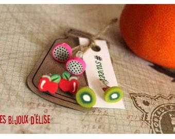 3 Pairs of Fruits Post Earrings Stud Earrings (Style 2)