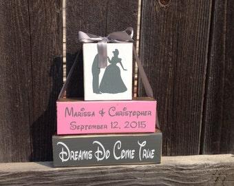 Personalized Wedding blocks-Dreams Do Come True dance pink