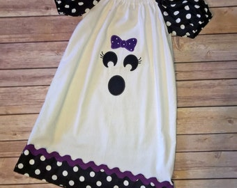 Ghost Face Applique Peasant Dress, Halloween peasant dress,  Sizes 12 months, 18 months, 2, 3, 4, 5, 6, 7, 8 girls