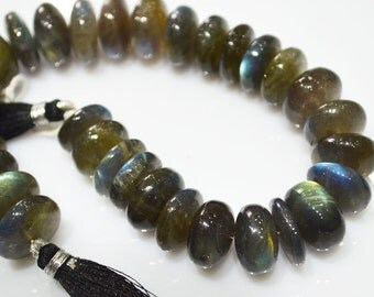 Labradorite Rondelles, Labradorite Beads, smooth, 10 inch strand, Size: 10mm To 10.50 mm