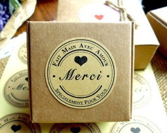 Merci Kraft Seal Sticker / Label , 36 stickers , for Gift Wrap & Card-Making