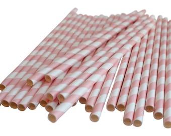 Light Pink Stripes Drinking Straws Birthday Party Wedding Decoration