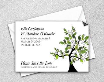 Save the Date Magnet + Envelope - Wedding magnets - Wedding Trees Design