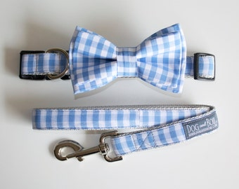 Blue Gingham Layered Dog Bow Tie - Optional Matching Collar + Leash