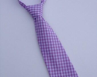 Boys Neck Tie, Infant Tie, Purple Gingham Neck Tie