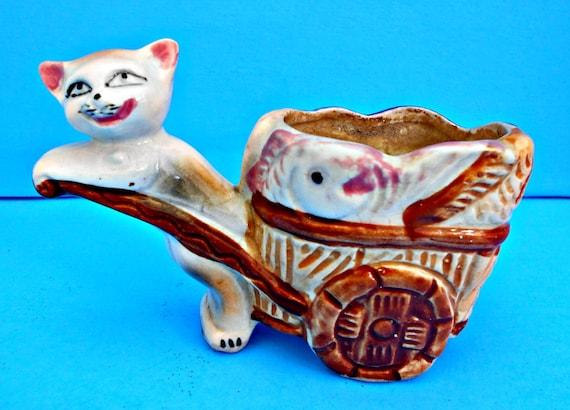 Cat Pulling Wagon : Ceramic cat planter vintage pulling cart full of