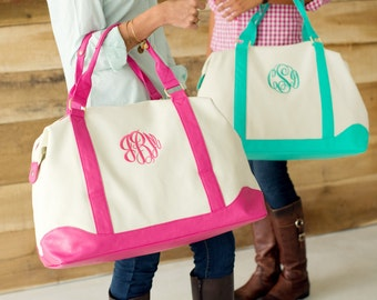 Monogrammed Weekend Bag Luggage Tote Overnight Duffel Canvas Monogram Weekender Sullivan