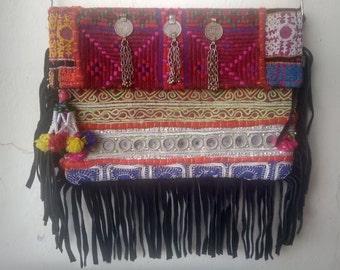 CLOSING SALE Indian Bohemian Patchwork Fringe Sling Bag/ HandBag/ Messenger Bag