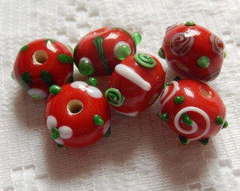 6  Christmas Red Green & White Bumpy Rondelle Lampwork Beads  14mm