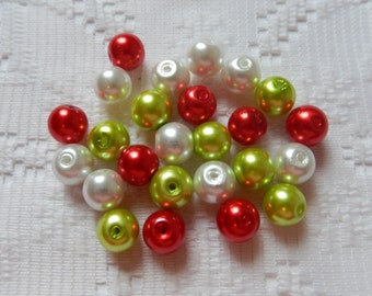 25  Christmas Mix Red Lime Green & White Round Glass Pearl Beads  8mm