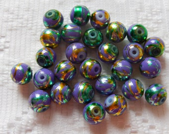 27  Grape Purple & Turquoise Blue Gold Foiled Round Glass Beads  8mm