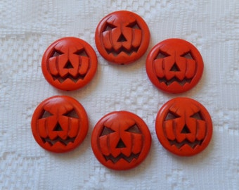 6 Orange Halloween Carved Jack O Lantern Pumpkin Magnesite Beads 25mm