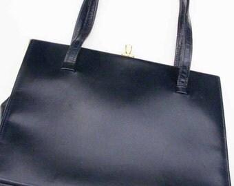 Vintage navy blue handbag, suede lined, stylish bag, circa 1960's