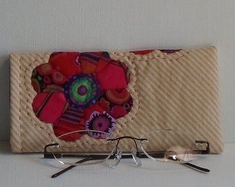 Hand Made Eye Glasses Case Cotton Boho Flower Applique
