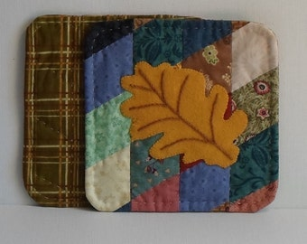 Handmade Coaster Cotton & Felted Wool Oak Leaf Mug Mats