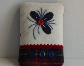 Handmade Felted Wool Floral Appliqued Pincushion