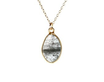 Tourmaline necklace - tourmaline slice - crystal necklace - a gold vermeil bezel set tourmaline crystal on a 14k gold vermeil chain
