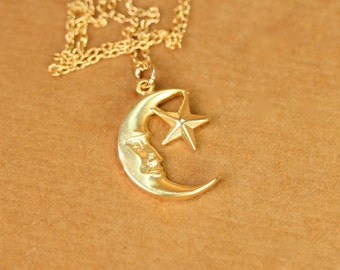 Moon and star necklace - moon necklace - star necklace - a gold vermeil moon and star pendant on a 14k gold vermeil chain