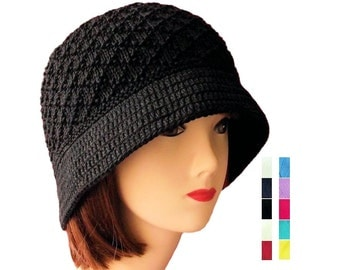 Cotton Cloche Hat Womens Knitted Hat Black, Bucket Hat, Womens Knit Hat with Brim, Chemo Hats Crochet, Cancer Hat, Handmade Gifts, Sue Maun
