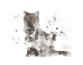 Grey British Shorthair Cat ART PRINT Illustration, Cat, Animal, Wall Art, Home Decor