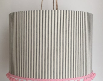 Ticking lampshade with pink pom pom trim - large