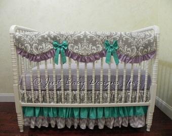 Bumperless Baby Crib Bedding Set Wanda - Lavender and Gray Baby Girl Bedding, Teal Crib Bedding, Scalloped Rail Guard, Ruffle Crib Skirt