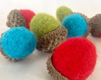 10% off Sale - 9 handmade needle felted acorns in real acorn caps brights craft supplies
